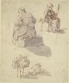 Eine spinnende Frau, eine weitere sitzende Fau in Rückansicht sowie ein beladener Esel, neben ihm der schlafende Treiber (SM 781z).png