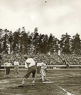 "Pesapallo, a Finnish variation of baseball, was invented by Lauri ""Tahko"" Pihkala in the 1920s, and after that, it has changed with the times and grown in popularity. Picture of Pesapallo match in 1958 in Jyvaskyla, Finland. Eino Kaakkolahti.jpg"