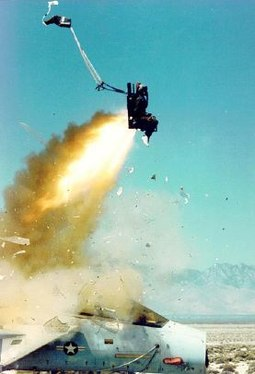 United States Air Force F-15 Eagle ejection seat test using a mannequin. Ejectionseat.jpg