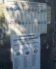 A poster for the European Parliament election 2004 in Italy, showing party lists