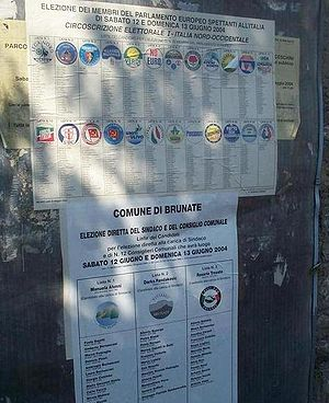Political party - A poster for the European Parliament election 2004 in Italy, showing party lists