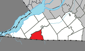 Location within Le Haut-Saint-Laurent Regional County Municipality.