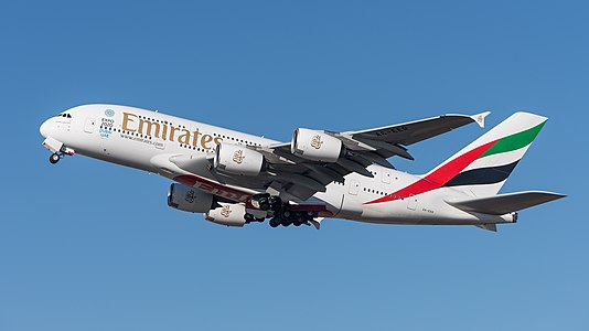 Emirates Airbus A380-861 at Munich Airport, departing 26L.