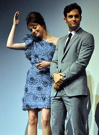 Emma Stone and Penn Badgley at the film's Toronto premiere.