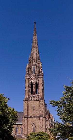 The steeple of Emmanuel church in Boston, MA