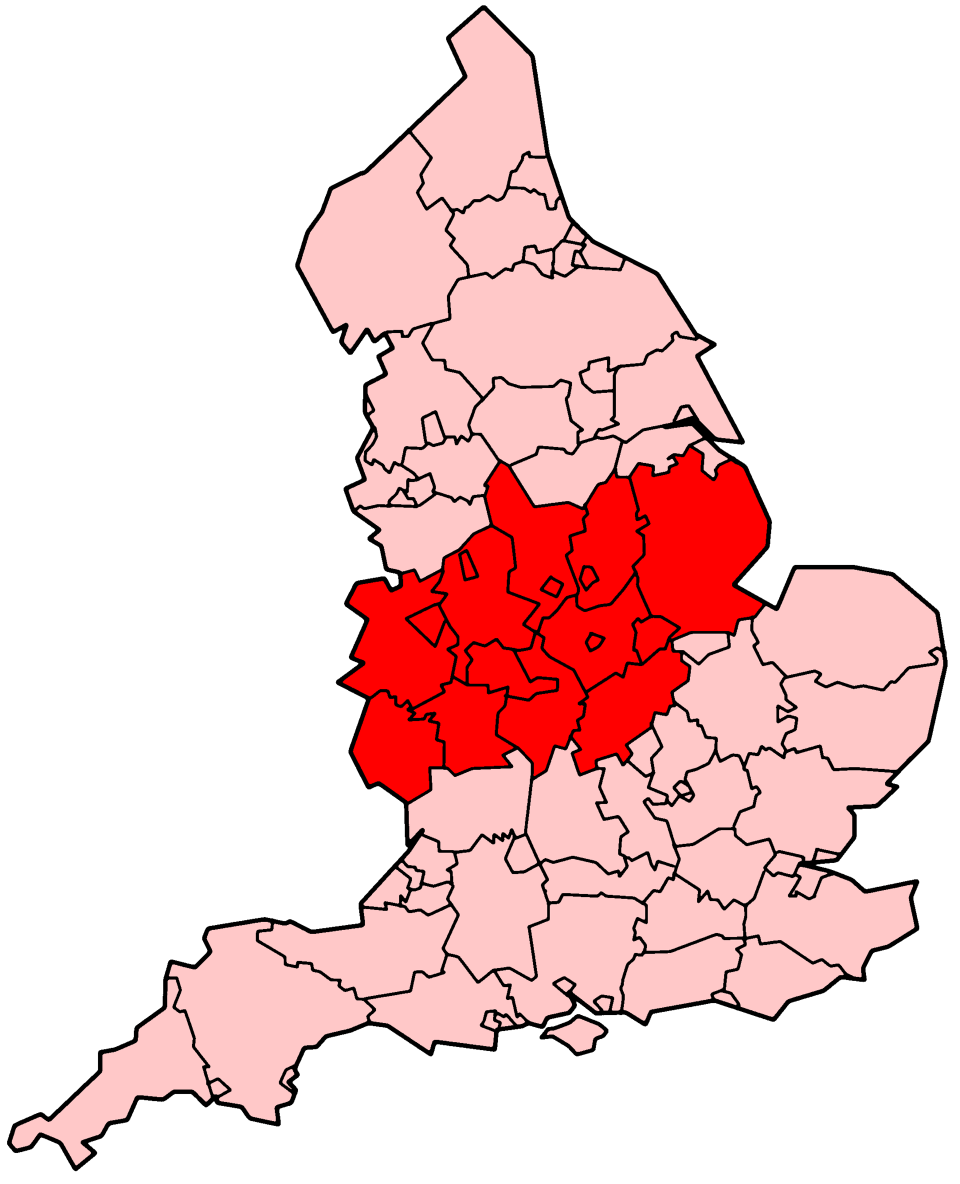 The East Midlands and West Midlands regions of England