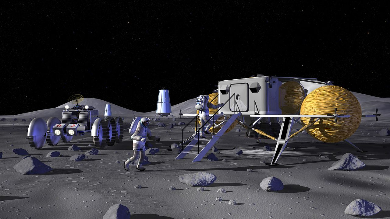Concept art from NASA showing astronauts entering a lunar outpost