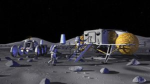 Colonization of the Moon - Concept art from NASA showing astronauts entering a lunar outpost