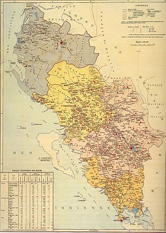 Janina Vilayet - Educational institutions in Vilayet (1908): red for Greek, purple for Romanian, blue for Italian.