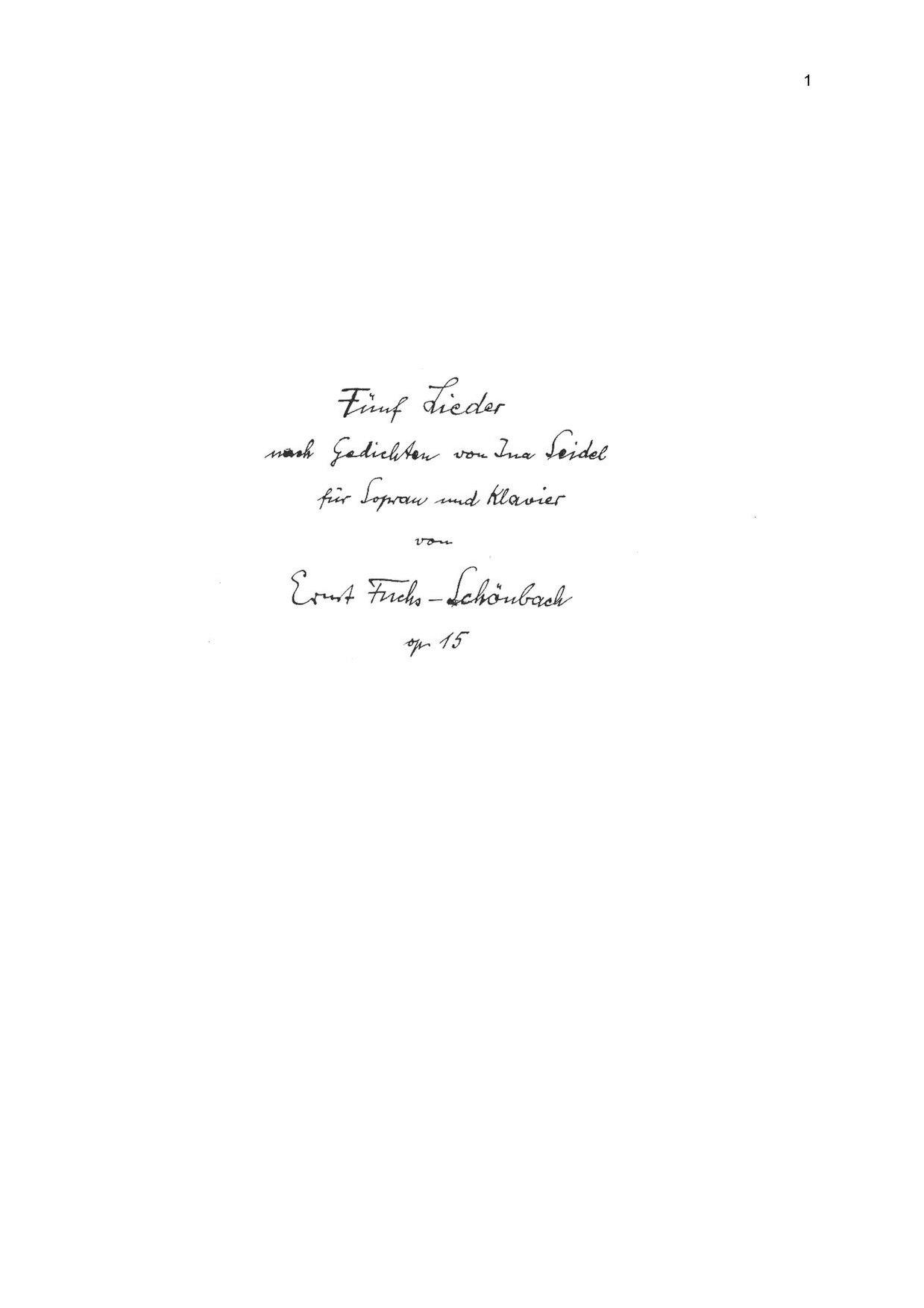 Dateiernst Fuchs Schoenbach Op 15 Fuenf Lieder Nach Gedichten
