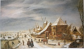 Winter Landscape with Windmills