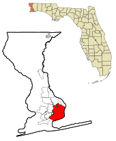 Escambia County Florida Incorporated and Unincorporated areas Pensacola Highlighted.svg