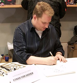 Ethan Van Sciver - Ethan Van Sciver drawing at Comicon fest, Athens, 2008