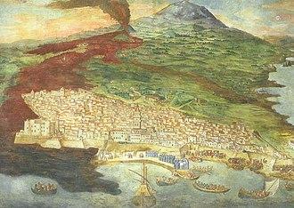 Catania - Mount Etna erupting in 1669