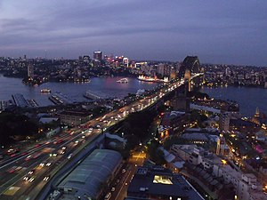North Shore (Sydney) - The Harbour Bridge connecting the North Shore to the Sydney CBD. The North Sydney skyline is visible in the background.