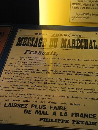 Guy Môquet - Philippe Pétain announces the execution.