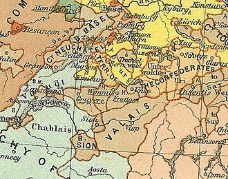 Roman Catholic Diocese of Sion - Map of Switzerland in 1378, showing the Bishopric labelled Valais