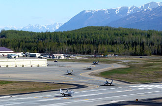 Taxiway - F-22 Raptors taxiing at Elmendorf AFB, Alaska, USA