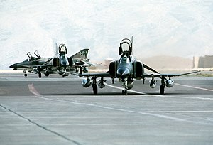 Baghdad Pact - Three U.S. Air Force McDonnell Douglas F-4E Phantom II aircraft parked at Shiraz Air Base, Iran, during exercise Cento, 1 August 1977