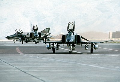 Three U.S. Air Force McDonnell Douglas F-4E Phantom II aircraft parked at Shiraz Air Base, Iran, during exercise Cento, 1 August 1977 F-4Es 50th TFW in Iran 1977.JPEG