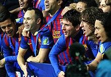 Barcelona celebrating their 2011 FIFA Club World Cup win against Santos FC.