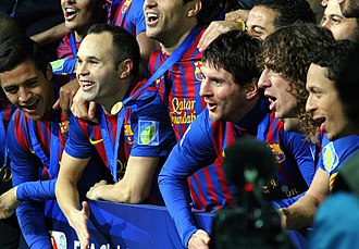 Alexis Sánchez - Sánchez (far left) celebrating with his Barcelona teammates after defeating Santos in the 2011 FIFA Club World Cup Final.