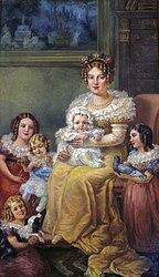 Domenico Failutti: Retrato de Dona Leopoldina de Habsburgo e seus filhos