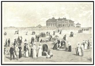 1892 in Denmark - The inaugurated of Fanø Nordsøbad, illustration from Illustreret Tidende
