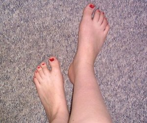 Feet with polished nails