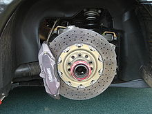 Reinforced Carbon Brake Disc On A Ferrari F430 Challenge Race Car
