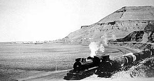 Comodoro Rivadavia Railway - A train arriving to Km. 3.