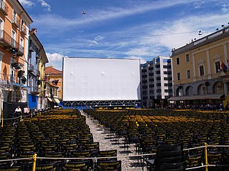Cinema of Switzerland - Piazza Grande in Locarno during the Locarno Film Festival