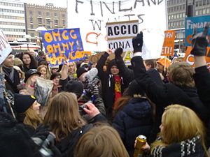 "Conan (talk show) - ""Finland Wants Conan"" demonstrative gathering in Helsinki, Finland. Finnish fans wanted to see Conan's new show air in Finland."