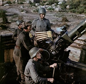 Bofors - Finnish soldiers operating a Bofors gun during WWII.