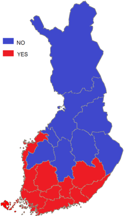 Finnish EU membership referendum, 1994 result by provinces.png