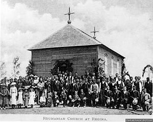 Romanian Canadians - Romanians in Regina (1904) in front of the first Romanian Church in North America