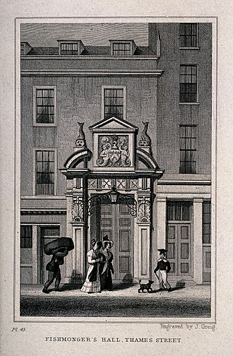 "Fishmongers' Hall - ""Fishmongers' Hall, Thames Street, London;"", c. 1830."
