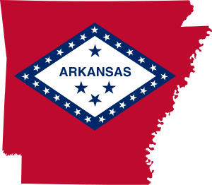 Flag-map of Arkansas