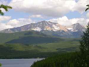 View northeastward across Hungry Horse Reservoir onto the Flathead Range, Montana