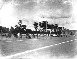 Fleming Field (Gainesville) - Football game at Fleming Field, 1924. Note Thomas Hall, background right.