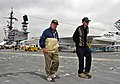 Flickr - Official U.S. Navy Imagery - Pearl Harbor survivors and former USS Oklahoma Sailor walk across the flight deck during a tour on the USS Midway Museum..jpg