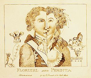 Mary Robinson (poet) - Caricature of the Prince of Wales as Florizel and Mary Robinson as Perdita, 1783