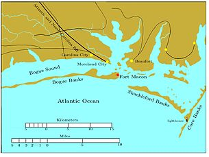 Bogue Banks is a long, narrow island extending from the left edge to past the middle of the chart. Fort Macon is at its eastern end. About two miles to the southeast is the western end of Shackleford Banks, which extends to the east southeast about seven miles. It is separated by a narrow inlet from Core Banks, which extends off the chart to the northeast. Behind these banks are the sounds, ranging in width from one to five miles. Carolina City, Morehead City, and Beaufort are sited on the sounds, all within 10 miles of Fort Macon. The Atlantic and North Carolina Railroad begins in Morehead City and runs off the map to the northwest.