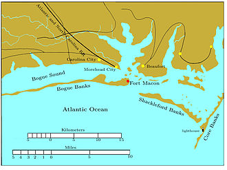 Siege of Fort Macon - Coastal North Carolina in the vicinity of Fort Macon, showing how it dominated the seaward approaches to Morehead City and Beaufort.