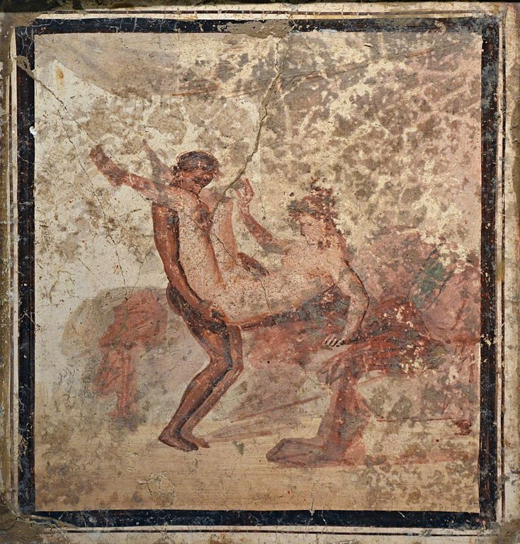 Scène érotique au musée d'archéologie de Naples.