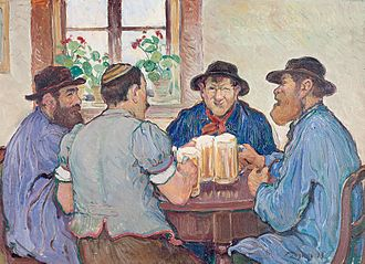 Beer - François Jaques: Peasants Enjoying Beer at Pub in Fribourg (Switzerland, 1923)