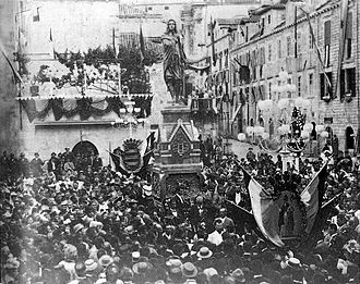 Kingdom of Dalmatia - Erection of the monument dedicated to Ivan Gundulić in Dubovnik, 20 May 1893