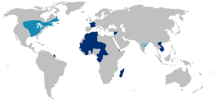 Map of the first (light blue) and second (dark blue — plain and hachured) French colonial empires