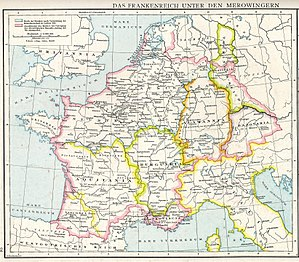 Duchy of Thuringia - Francia about 486, with Thuringian realm in the east