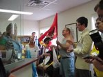 File:Fredericton postal workers sing solidarity forever at the occupation of the MP's office.ogv